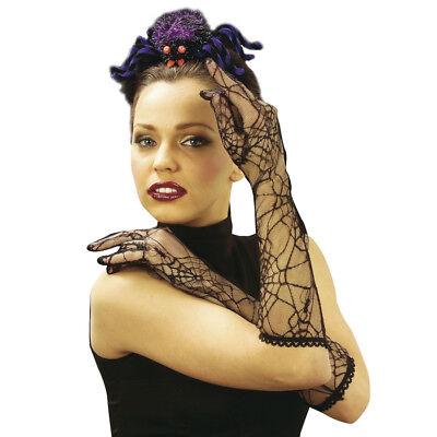 SPINNEN NETZHANDSCHUHE SCHWARZ Halloween Handschuhe Spitze Hexe Vamp Kostüm - Spitze Kostüm Handschuhe