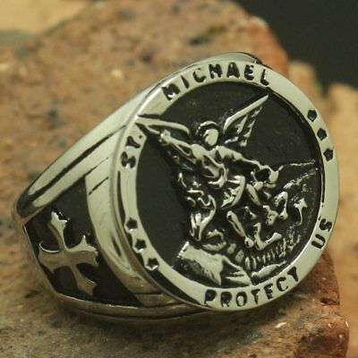 Saint Michael Protection Stainless Steel Mens Ring Catholic Christian Jewelry St