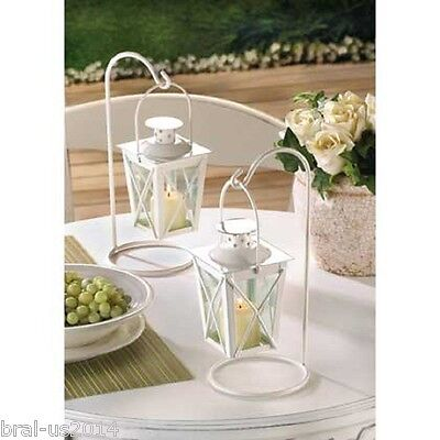 Wedding Lantern Centerpieces (Lot of 10 White Mini Lantern Small Candleholder w/ Stands Wedding)