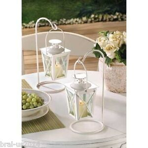 10 White Mini Lantern Small Candleholder Wedding Centerpieces - New