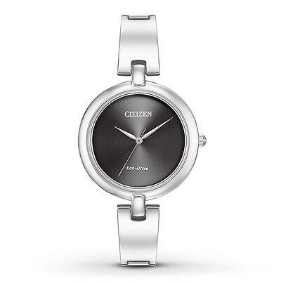 Citizen Eco-Drive Women's EM0220-88E Silhouette Black Dial Bangle 34mm Watch