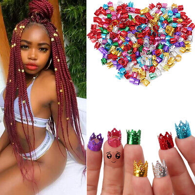 Adjustable Dreadlock Beads Braids Hair Clips Crown Cuff Dreads Tube Ring Jewelry