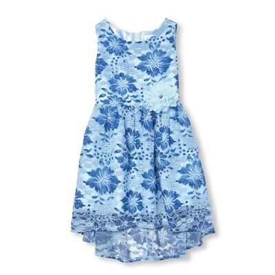 NWT The Childrens Place Girls Sleeveless Blue Floral Lace Woven Dress