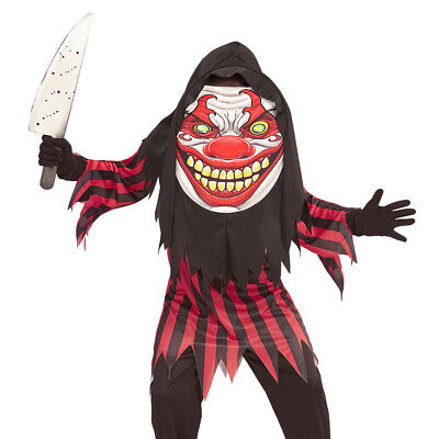 KINDER CLOWN KOSTÜM & XL MASKE Halloween Mörder Killer Clownkostüm 152/158 0776 (Kinder Halloween Masken)