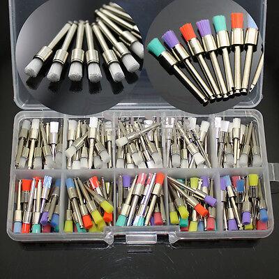 200 Pcs Dental Nylon Latch Flat Polishing Polisher Prophy White Colorful Brush