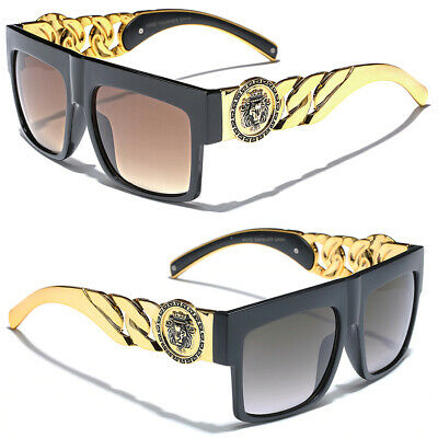 Oversize Gold Chain Kleo Lion Head Medallion Sunglasses Women Men HipHop (Kleo Sunglasses)