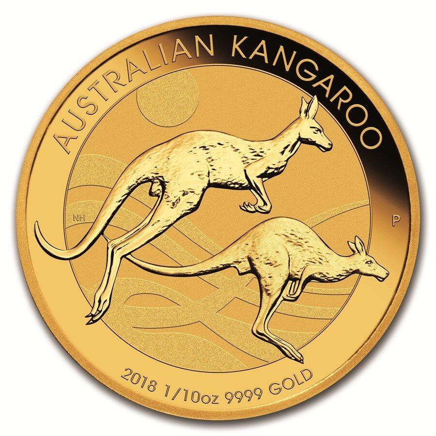 1/10 oz Gold Känguru 2018 - 15 Dollar Australien Stempelglanz Goldmünze 999,9