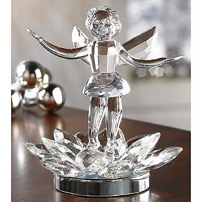 DELUXE FACETED CRYSTAL FAIRY FIGURINE deluxe ANGEL NEW IN BOX large