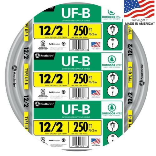 Southwire 13055955 250-Ft 12/2 UF-B Wire (By-The-Roll) NEW Underground Feeder