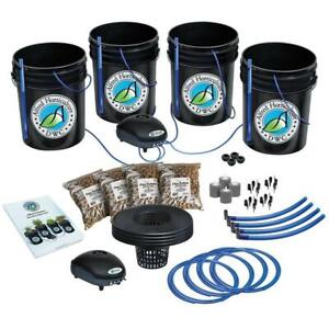Alfred Horticulture 4-site (5-Gal Bucket) Deep Water Culture (DWC) - 1,2 or 4 Plant Hydroponic Grow Complete System