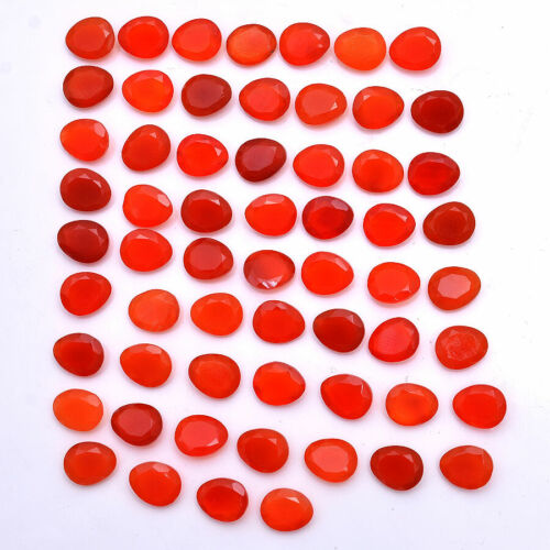 178 Cts/60 Pc Natural Orange Onyx Faceted Cut Untreated Loose Gemstones~11mmx9mm