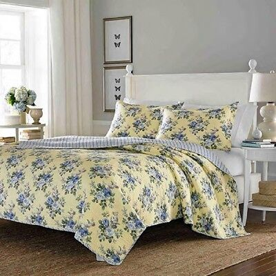 Quilt Set For Woman King Size Yellow Base Blue Flowers Comforter Bedding Cover  ()