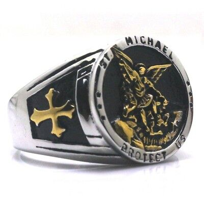 Saint Michael Protection Stainless Steel Mens Ring St Catholic Christian Jewelry
