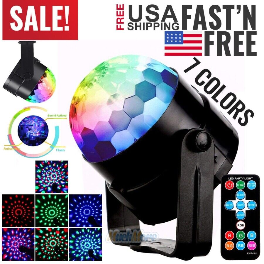 6 Color Conversion Sound Activated LED RGB Rotating Light with Remote for Halloween Dance Party DJ Club Karaoke Decoration TFCFL Disco Ball LED Party Lights