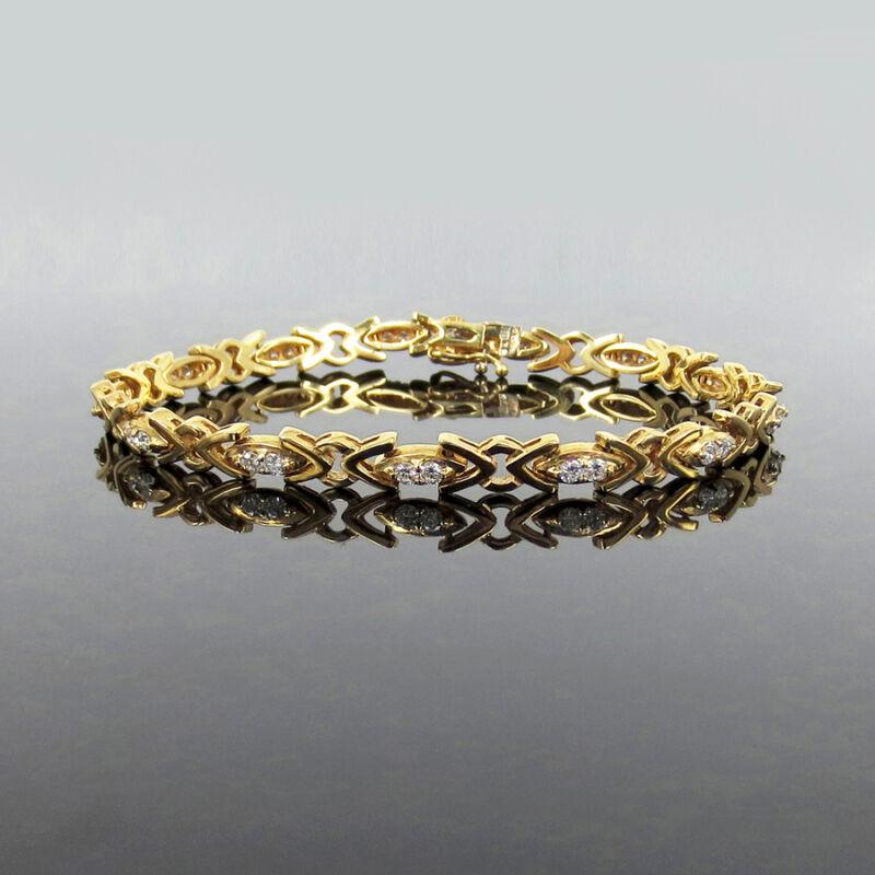 Rare Gerard 1.10ct Fine De/vs Diamond & 18k Yellow Gold Tennis Bracelet
