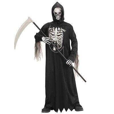 KINDER SENSENMANN KOSTÜM & MASKE Halloween Skelett Tod Knochenmann Jungen - Jungen Sensenmann Kostüm