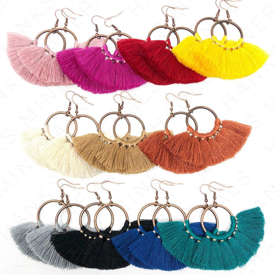Jewellery - Hoop Fan Tassel Earring Fringe Circle Round Drop Straw Boho Earrings