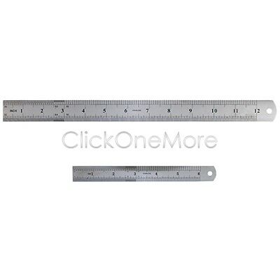GTI - Stainless Steel Ruler Rule Dual Markings Tool 12 Inch 300mm + 6 Inch 150mm