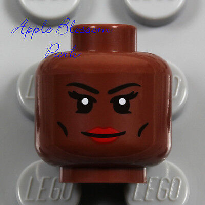 NEW Lego Female Brown Dark FLESH MINIFIG HEAD Storm Red Lips Lipstick Girl Smile