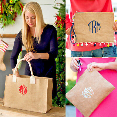 PERSONALIZED BURLAP MARKET BRIDESMAID TOTE BAG POM POM CLUTCH ZIP COSMETIC POUCH
