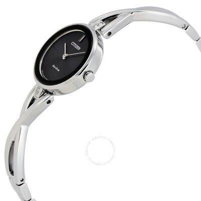 Citizen EcoDrive Silhouette Womens Black Dial Bangle 23mm Watch EX142050E