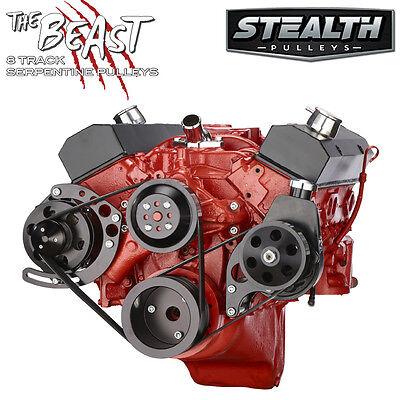 Black Small Block Chevy Serpentine Conversion Kit - Power Steering, SBC 350 400