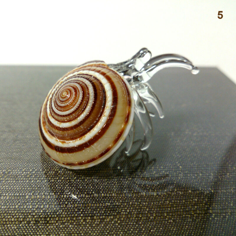 Seashell Hermit Crab Figurines Beach Animals Blown Glass Art Collectible Gift #9