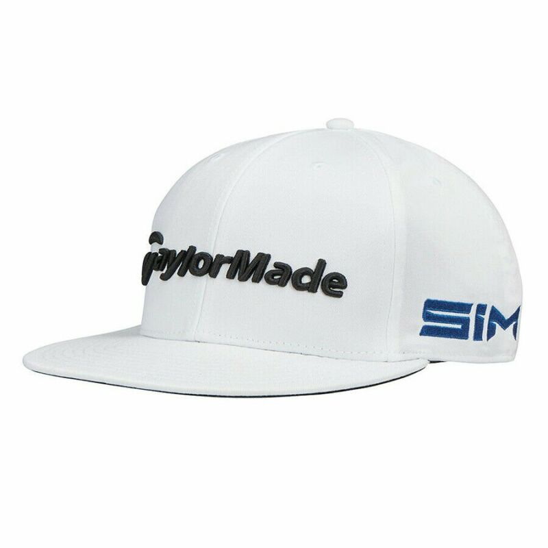 TaylorMade Golf 2020 Tour Flatbill SIM Adjustable Cap Hat - White - No Ball Logo