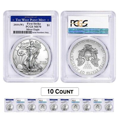 Lot of 10 - 2018 (W) 1 oz Silver American Eagle $1 Coin PCGS MS 70 FS West Point