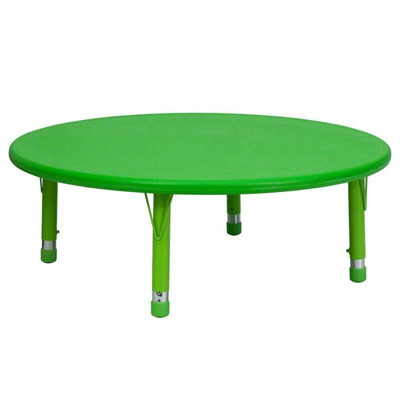 "Flash 45"" Round Height Adjustable Green Plastic Activity Table"