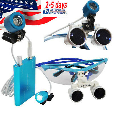 Comfortable Dental Loupe Loupes Kit 3.5x 420mm Optical Lens Led Headlight Blue