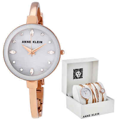 Anne Klein Light Grey Crystal Dial Ladies Watch Set AK/3402LGST