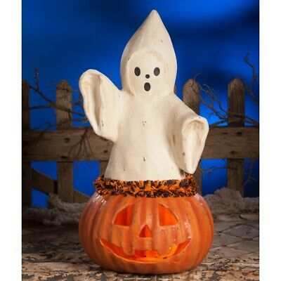 """Bethany Lowe Large Ghost Coming Out Of Pumpkin 22 1/2"""" TJ7746"""