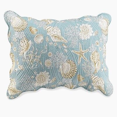 NATURAL SHELLS STANDARD SHAM : AQUA WHITE SHELL BEACH QUILTED PILLOW COVER (Shells Quilted Pillow)