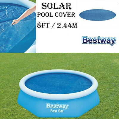 BESTWAY SOLAR 8FT FAST SET SWIMMING POOL SHEET COVER TARPAULIN HEATS THE WATER