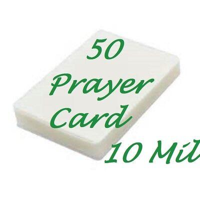 50 Prayer Card Laminating Laminator Pouches Sheets 10 Mil 2-34 X 4-12 Gloss