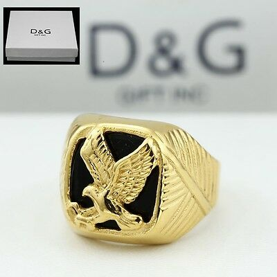 DG Men's Gold Stainless Steel Black Onyx EAGLE Ring Size: 8.9 10 11 12 13**Box Onyx Eagle Ring