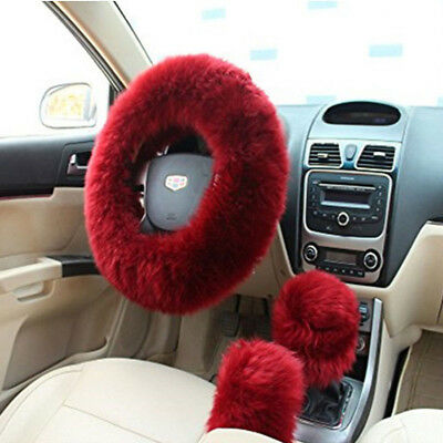 3Pcs  Fluffy Thick Fur Wool Car Steering Wheel Cover Winter Universal Wine - Wine Wheel