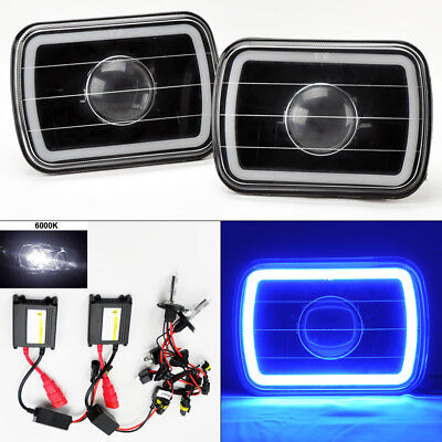 "7X6"" 6K HID Xenon H4 Black Projector Glass CCFL Blue Halo Headlight Pair Chevy"