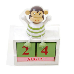 New wooden Animal Calendar block Penguin Elephant or Monkey