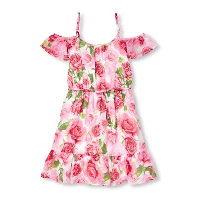 NWT The Childrens Place Girls Floral Rose Print Pink Woven Off Shoulder Dress