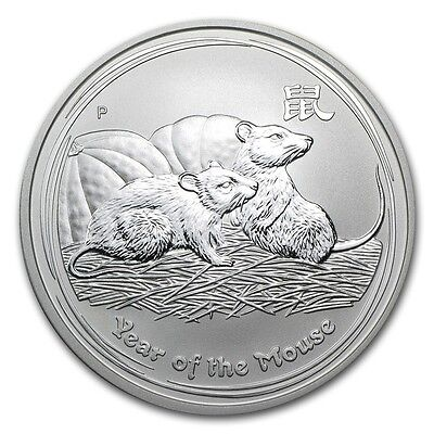 2008 Australia 1 oz Perth .999 Silver Lunar Mouse (from mint roll)