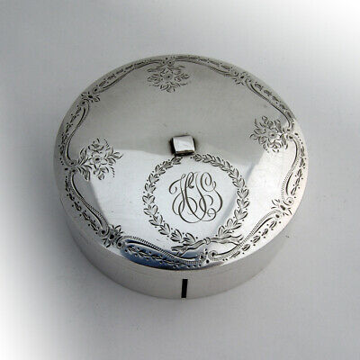 Birks Engraved Floral Ribbon Box Sterling Silver 1930 Canada Mono HJG