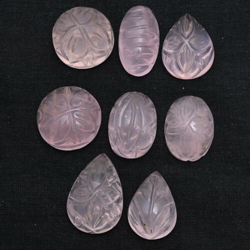 183 Ct Natural Rose Quartz Magnificent Untreated Hand Carved Gemstones~20mm-24mm