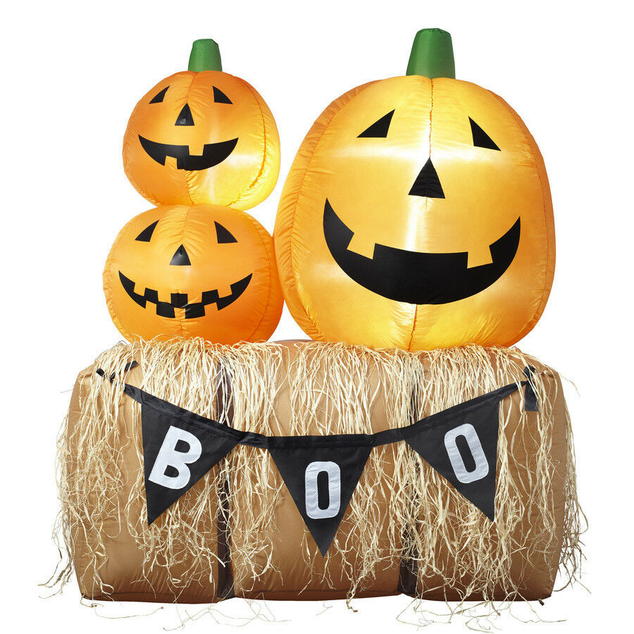 6.23 Ft Pumpkins Stack Haystack Inflatable Halloween Led Light Boo Airblown