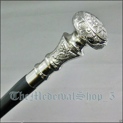Vintage Antique Walking Cane Wooden Walking Stick Silver Brass Handle Knob Gift for sale  Shipping to Canada