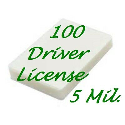 100 Driver License Size 5 Mil Laminating Pouches Laminator Sheets 2-38 X 3-58