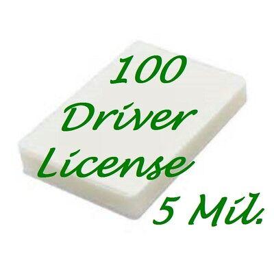 100 Driver License Size 5 Mil Laminating Pouches Laminator Sheets 2-38 X 3-58