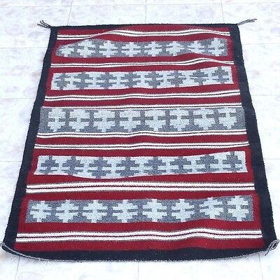 """Native American Navajo Wide Ruins Banded Pattern Wool Rug 28"""" x 44"""" Hand Woven"""