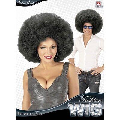 SCHWARZE XL AFRO PERÜCKE Karneval 70er 80er Jahre Hippie Disko Kostüm Fest - Schwarz Afro Perücke Kostüm